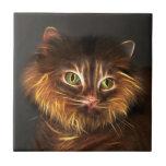 Cara abstracta del gato azulejo cerámica