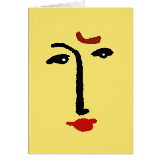 Cara abstracta en amarillo tarjeta