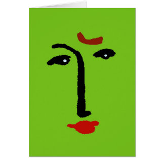 Cara abstracta en verde tarjetón