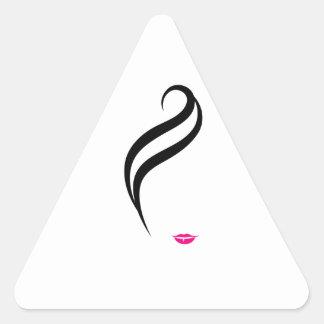 Cara abstracta pegatina triangular