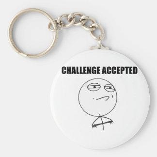Cara aceptada desafío Meme cómico de la rabia Llavero Personalizado