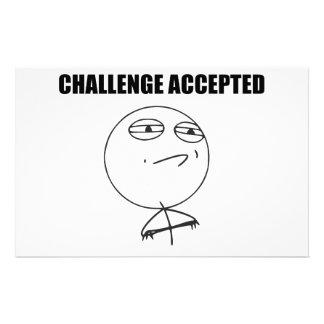 Cara aceptada desafío Meme cómico de la rabia Papelería