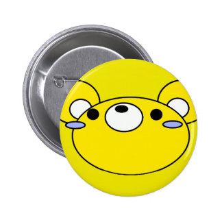 cara amarilla del dibujo animado del ratón pin redondo 5 cm