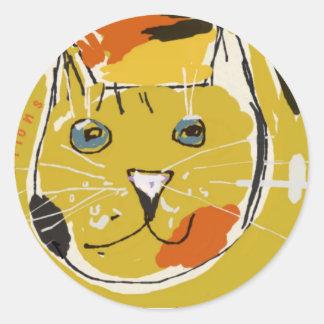 Cara amarilla del gato pegatina redonda