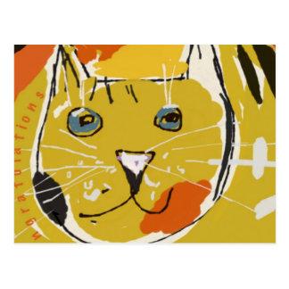 Cara amarilla del gato postales