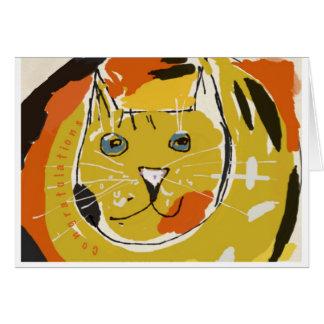 Cara amarilla del gato tarjeta de felicitación