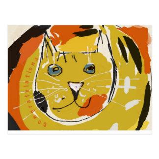 Cara amarilla del gato tarjetas postales