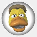 Cara amarilla del smiley de la cara del pato pegatina redonda