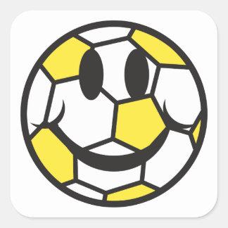 cara amarilla del smiley del balón de fútbol pegatinas cuadradases