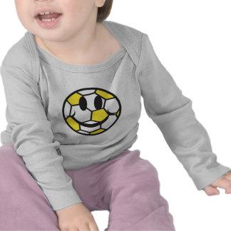 cara amarilla del smiley del balón de fútbol camiseta