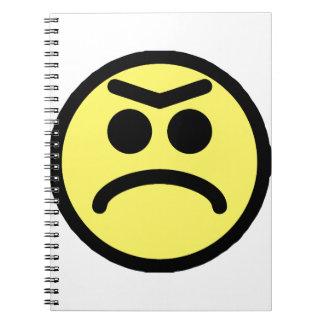 Cara amarilla del smiley del ceño fruncido de Unib Libro De Apuntes