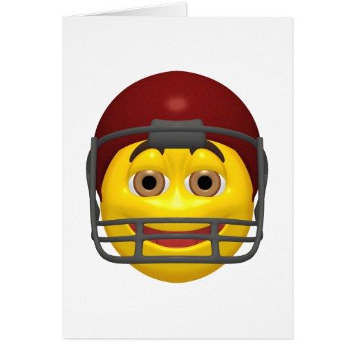 Cara amarilla del smiley del fútbol tarjeta de felicitación