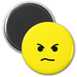 Cara amarilla enojada simple imán redondo 5 cm