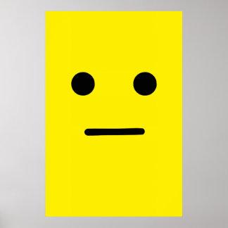 Cara amarilla tranquila simple póster