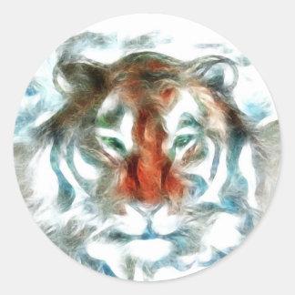 Cara anaranjada abstracta del tigre pegatina redonda
