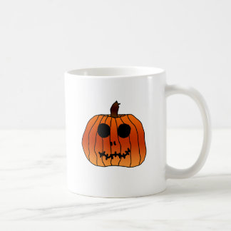 Cara anaranjada de la calabaza de Halloween Tazas De Café