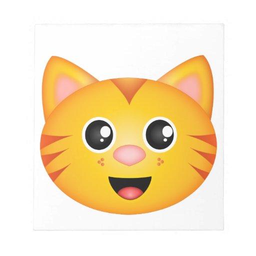 Cara anaranjada del gatito bloc de papel