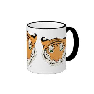 Cara anaranjada del tigre de los animales de la taza de dos colores