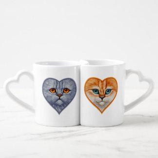 Cara anaranjada feliz del gatito tazas para parejas