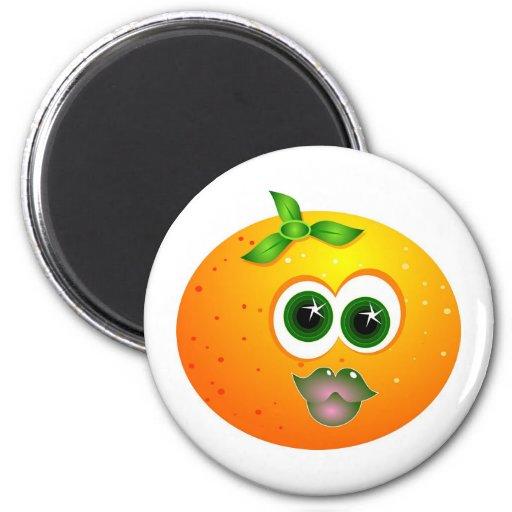 Cara anaranjada imán redondo 5 cm