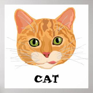 Cara anaranjada linda del gato posters