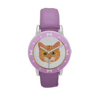 Cara anaranjada linda del gato reloj de mano