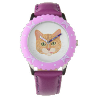 Cara anaranjada linda del gato reloj