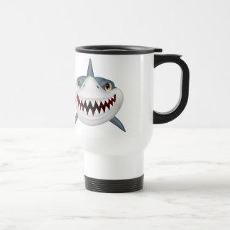 Cara animada asustadiza del tiburón taza térmica