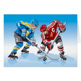 Cara-Apagado del jugador del hockey sobre hielo de Tarjeta De Felicitación