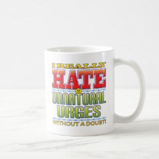 Cara artificial del odio de los impulsos taza básica blanca