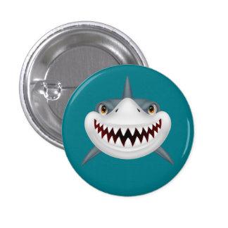 Cara asustadiza animada del tiburón pin redondo de 1 pulgada