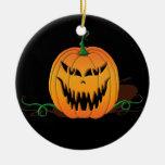 Cara asustadiza de la calabaza de Halloween Ornamentos De Navidad
