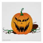 Cara asustadiza de la calabaza de Halloween Impresiones