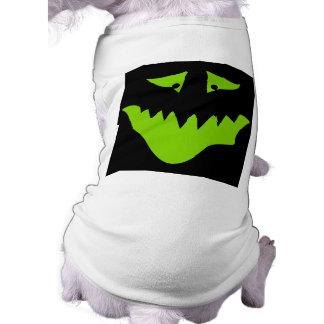Cara asustadiza de la verde lima. Monstruo Playera Sin Mangas Para Perro