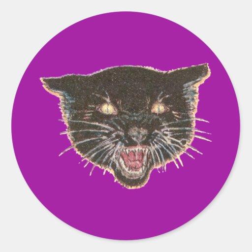 Cara asustadiza del gato negro pegatina redonda