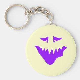 Cara asustadiza púrpura. Monstruo Llavero Redondo Tipo Pin