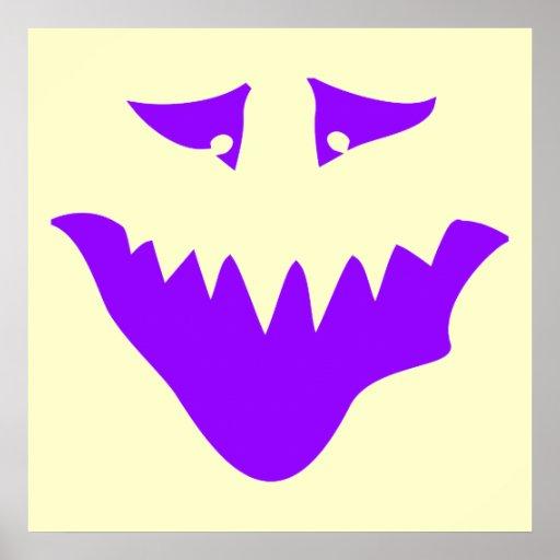 Cara asustadiza púrpura. Monstruo Póster