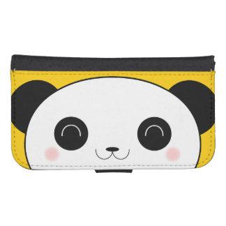 Cara atractiva feliz de la panda de Cheeked Kawaii Fundas Cartera De Galaxy S4