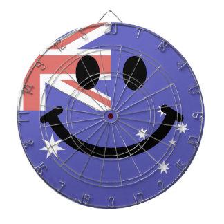 Cara australiana del smiley de la bandera tabla dardos
