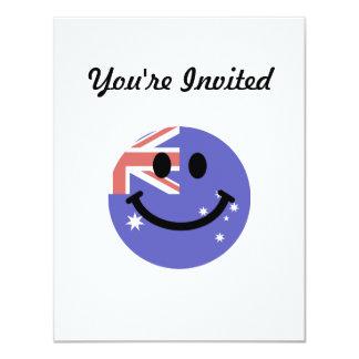"""Cara australiana del smiley de la bandera invitación 4.25"""" x 5.5"""""""