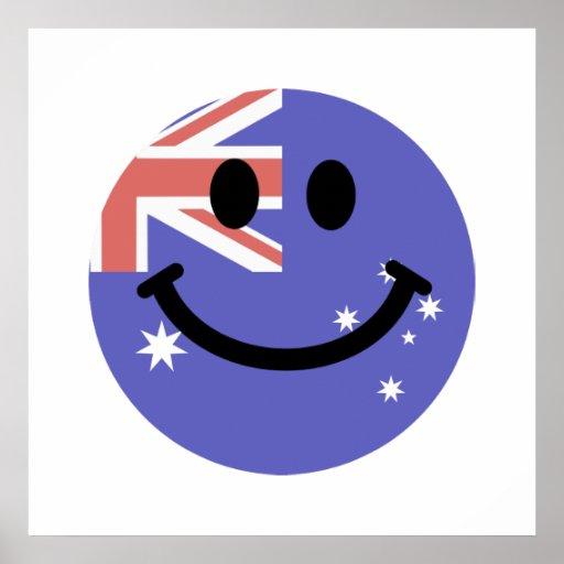 Cara australiana del smiley de la bandera póster
