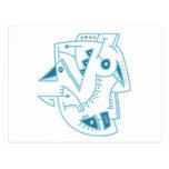 Cara azul abstracta - líneas y puntos postal
