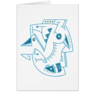 Cara azul abstracta - líneas y puntos tarjeta