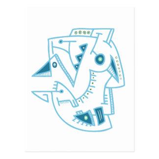 Cara azul abstracta - líneas y puntos tarjeta postal