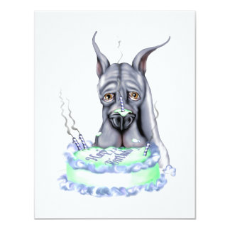 """Cara azul de la torta de cumpleaños de great dane invitación 4.25"""" x 5.5"""""""