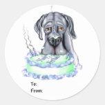 Cara azul de la torta de cumpleaños de great dane etiqueta redonda
