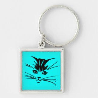 Cara azul del gato del gatito de la aguamarina llavero cuadrado plateado