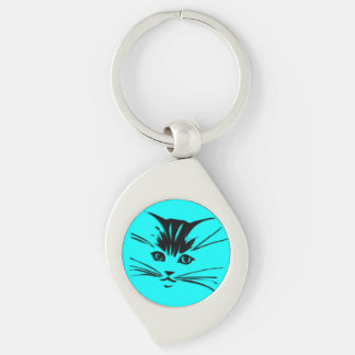 Cara azul del gato del gatito de la aguamarina llavero plateado en forma de espiral