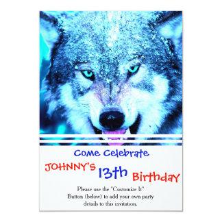 """Cara azul del lobo invitación 5"""" x 7"""""""