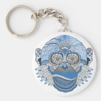 Cara azul del mono con el modelo y las plumas llavero redondo tipo pin